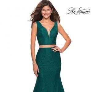 La Femme Prom Dress Style 27262 (Forest Green)